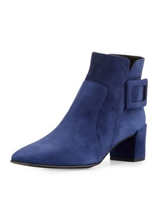 Roger Vivier Polly Suede Buckle Booties