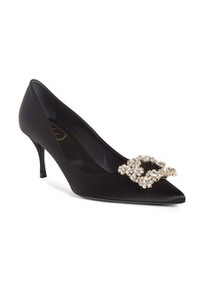 Roger Vivier Sin Crystal Buckle Pointy Toe Pump (Women)