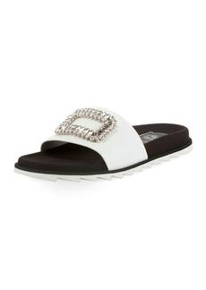 Roger Vivier Slidy Viv Strass Buckle Flat Sandals