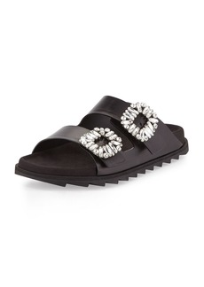 Roger Vivier Strass-Buckle Two-Band Slide Sandals
