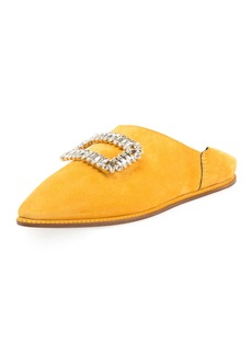 Roger Vivier Strass Suede Flat Fold-Down Mule