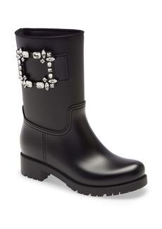 Roger Vivier Tempête Viv Crystal Buckle Waterproof Rain Boot (Women)