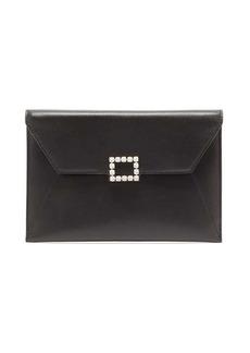 Roger Vivier Très Vivier crystal-embellished leather pouch