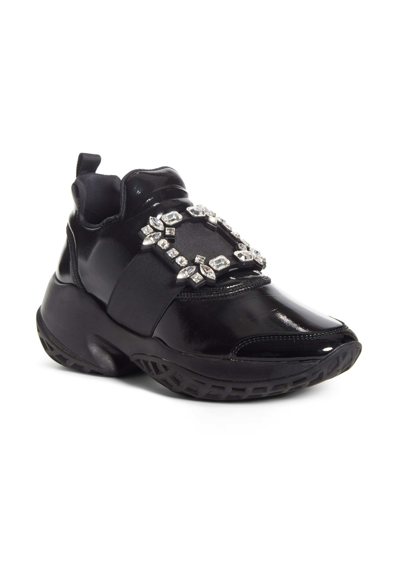 Roger Vivier Viv Crystal Buckle Slip-On Sneaker (Women)