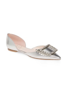 Roger Vivier Wings Crystal Buckle Pointed Toe Flat (Women)
