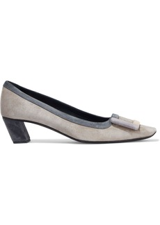 Roger Vivier Woman Belle De Nuit Buckle-embellished Color-block Suede Pumps Stone