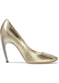 Roger Vivier Woman Belle De Nuit Metallic Crinkled-leather Pumps Gold