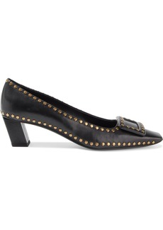 Roger Vivier Woman Belle Vivier Buckle-embellished Studded Leather Pumps Black