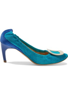 Roger Vivier Woman Buckle-embellished Two-tone Suede Pumps Turquoise