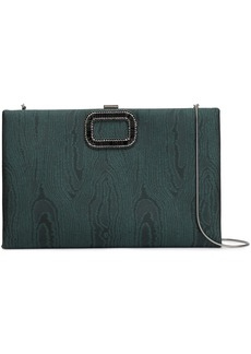 Roger Vivier Woman Chain-embellished Moire Clutch Dark Green