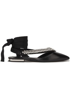 Roger Vivier Woman Choc Real V Crystal-embellished Leather Point-toe Flats Black