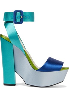 Roger Vivier Woman Color-block Satin Platform Sandals Multicolor