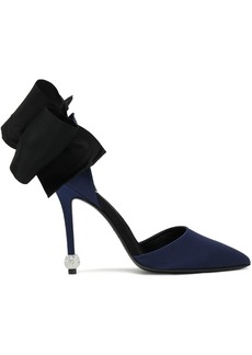 Roger Vivier Woman Crystal And Bow-embellished Satin Pumps Navy