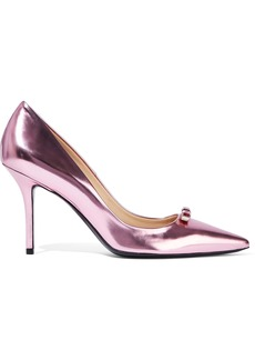 Roger Vivier Woman Crystal-embellished Metallic Leather Pumps Baby Pink