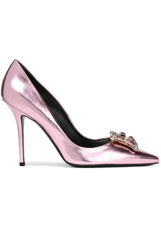 Roger Vivier Woman Crystal-embellished Metallic Leather Pumps Rose Gold