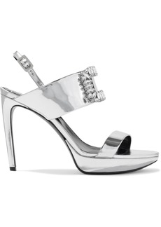 Roger Vivier Woman Crystal-embellished Mirrored-leather Platform Sandals Silver