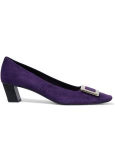Roger Vivier Woman Decollete Belle Buckle-embellished Suede Pumps Violet