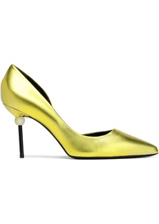 Roger Vivier Woman Embellished Metallic Leather Pumps Chartreuse