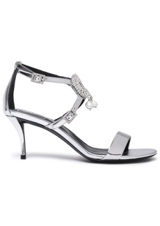 Roger Vivier Woman Embellished Metallic Mirrored-leather Sandals Silver
