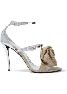 Roger Vivier Woman Floral-appliquéd Canvas And Mirrored-leather Sandals Silver