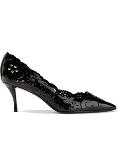 Roger Vivier Woman Floral-appliquéd Laser-cut Patent-leather Pumps Black