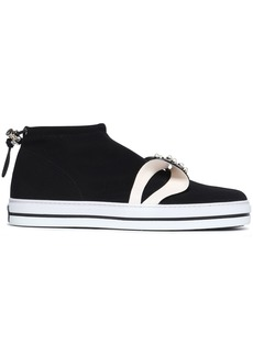 Roger Vivier Woman Sneaky Lolita Bow-embellished Neoprene Slip-on Sneakers Black