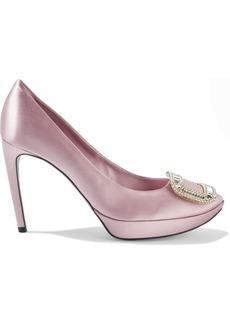 Roger Vivier Woman Limelight Crystal-embellished Satin Platform Pumps Pink