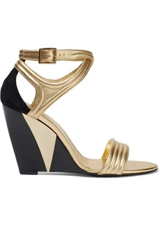 Roger Vivier Woman Metropolis Metallic Leather And Suede Wedge Sandals Gold