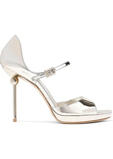 Roger Vivier Woman Mirrored-leather Platform Sandals Platinum
