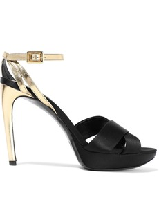 Roger Vivier Woman Plateau 105 Metallic Leather And Satin Platform Sandals Black