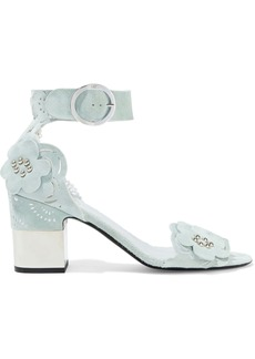Roger Vivier Woman Podium Floral-appliquéd Laser-cut Suede Sandals Mint