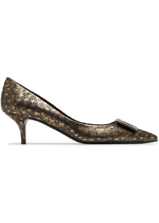 Roger Vivier Woman Privilege 50 Buckle-embellished Metallic Ostrich Pumps Brass