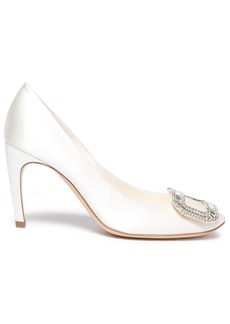 Roger Vivier Woman Trompette Crystal-embellished Satin Pumps Cream