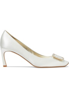 Roger Vivier Woman Crystal-embellished Satin Pumps White