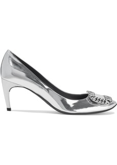 Roger Vivier Woman Vertigo Crystal-embellished Mirrored-leather Pumps Silver