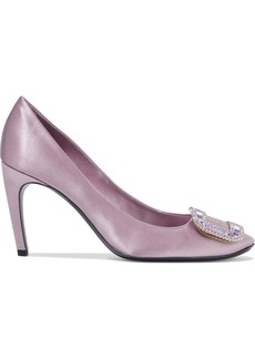 Roger Vivier Woman Vertigo Crystal-embellished Satin Pumps Lilac