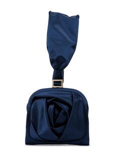 Roger Vivier Rose Bracelet Clutch Bag  Navy