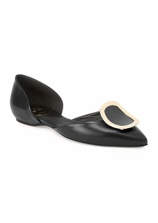 Roger Vivier Sexy Choc Leather Ballet Flats  Black