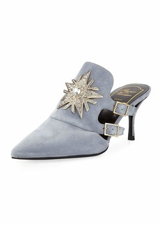Roger Vivier Sin Star Strass Suede Mid-Heel Mules
