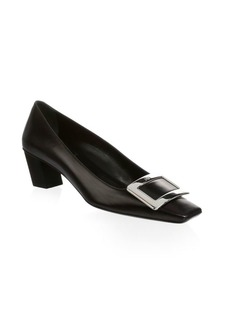 Roger Vivier Square Toe Leather Pumps