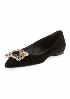 Roger Vivier Suede Ballet Flats with Flower-Crystal Buckle
