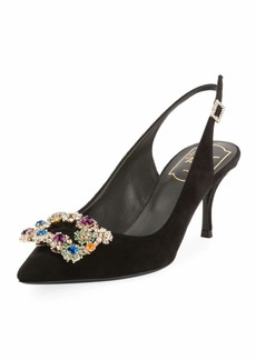 Roger Vivier Suede Crystal Flower-Buckle Slingback Pumps