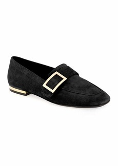Roger Vivier Suede Metal-Buckle Loafer  Black