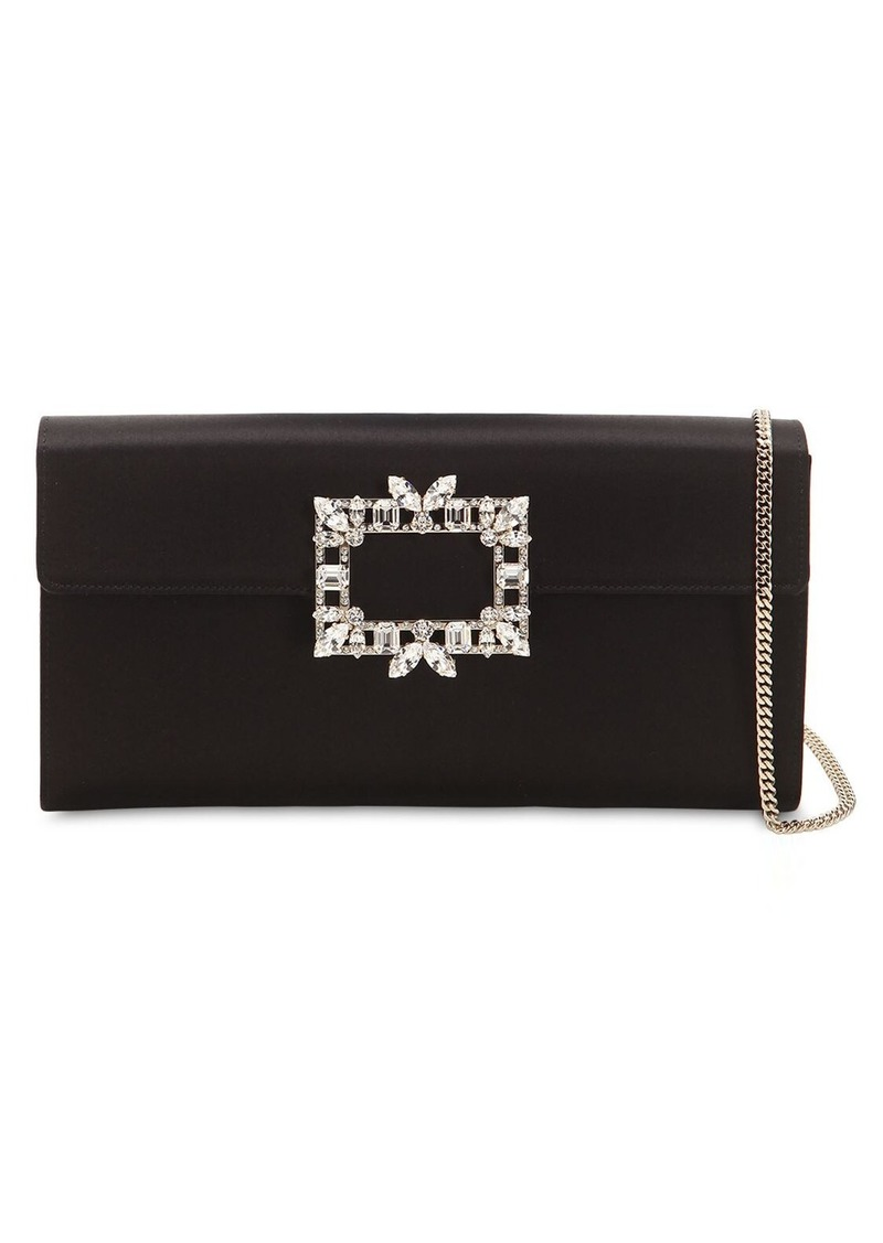 Roger Vivier Trianon Satin Clutch W/ Crystal Buckle