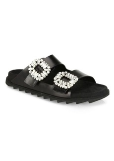 Roger Vivier Slidy Viv Embellished Leather Slides