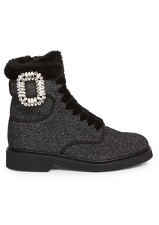 Roger Vivier Viv Rangers Shearling-Lined Combat Boots