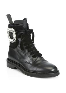 Roger Vivier Viv Rangers Leather Combat Boots