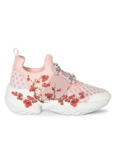 Roger Vivier Viv Run Embellished Floral-Print Sneakers