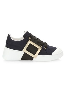 Roger Vivier Viv Skate Buckle Leather Sneakers