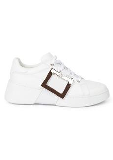 Roger Vivier Viv Skate Buckle Leather Sneakers